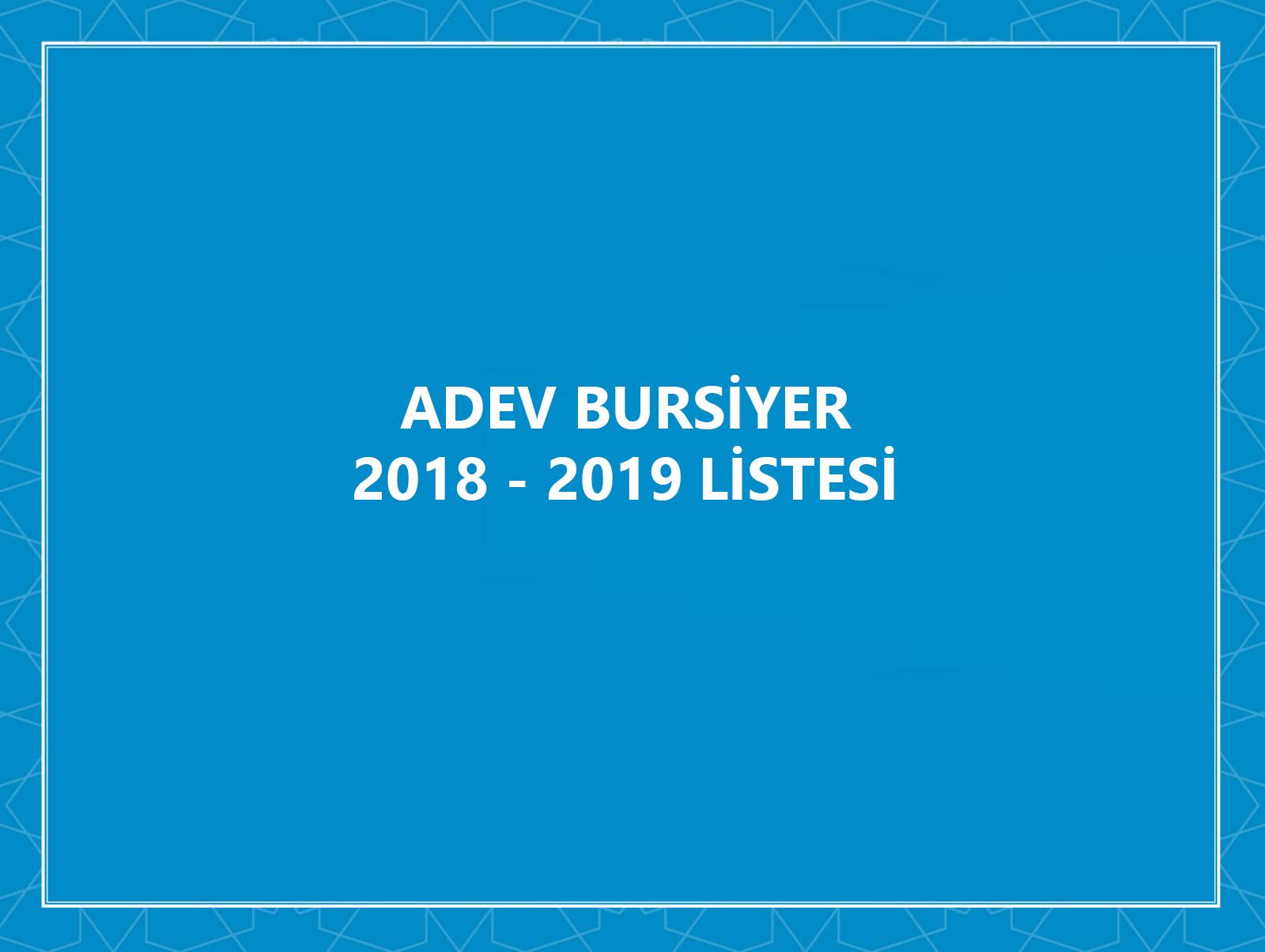 ADEV 2018-2019 Onaylanan Bursiyer Listesi